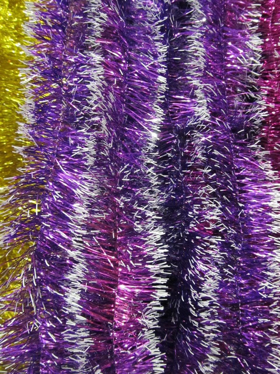 5 см диаметр Мишура дождик новогодняя Фиолетовый с белыми кончиками, Длина 3 метра