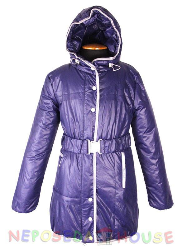Куртка подростковая демисезонная  Moonbox для девочки  от 9 до 12 лет  удлиненная синяя