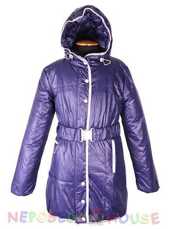 Куртка подростковая демисезонная  Moonbox для девочки  от 9 до 12 лет  удлиненная синяя, фото 2
