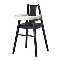 Стул для кормления IKEA БЛАМЕС  ,  высокий, черный,1.650.79