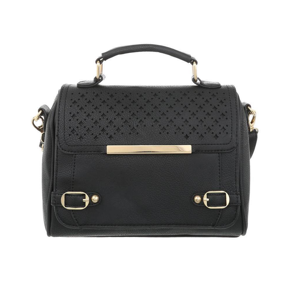 Женская перфорированная сумка с золотыми замками (Европа) Черный