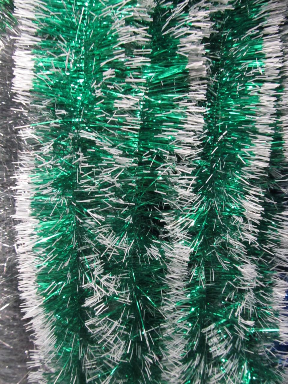 10 см диаметр Мишура дождик Зеленый с белыми кончиками, Длина 3 метра