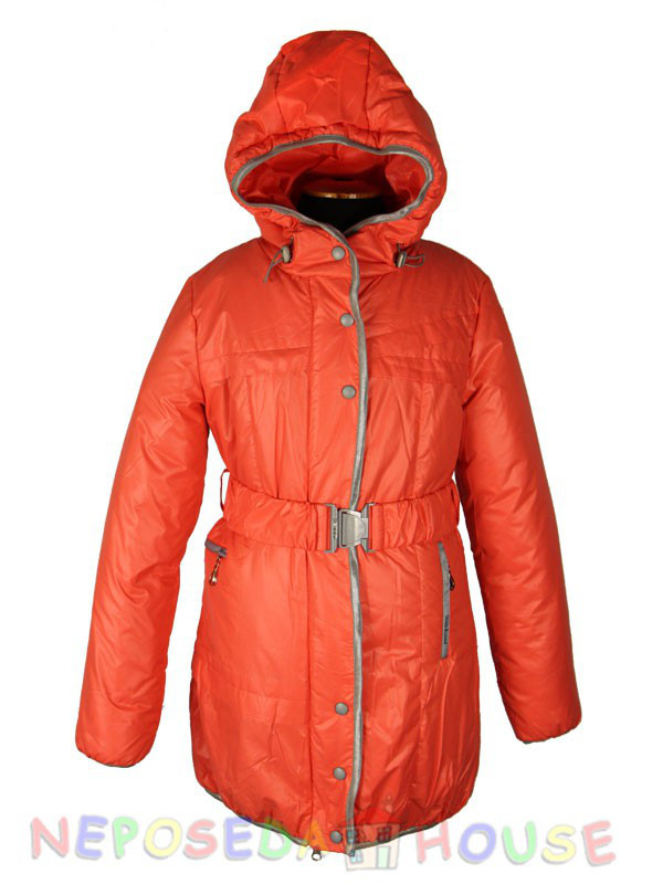 Куртка подростковая демисезонная Moonbox для девочки  от 9 до 12 лет  удлиненная коралловая