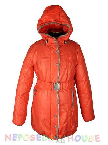 Куртка подростковая демисезонная Moonbox для девочки  от 9 до 12 лет  удлиненная коралловая, фото 2