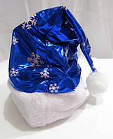 Шапка Деда Мороза Синяя снежинки