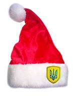 """Новогодняя Шапка Детская Деда Мороза Колпак Санта Клауса Santa Claus красная """"Герб Украины"""", фото 1"""