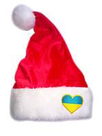 """Новогодняя Шапка Детская Деда Мороза Колпак Санта Клауса Santa Claus красная """"Флаг Украины в сердце"""", фото 1"""