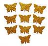 Золотые бабочки N1 с глиттером (блестками) аппликации из фоамирана Латекса заготовки 3.8 см 10 шт/уп