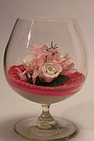Стабилизированные розы в бокале