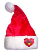 "Новорічна Шапка Діда Мороза Ковпак Санта Клауса Santa Claus червона ""Герб в сердечку"", фото 1"