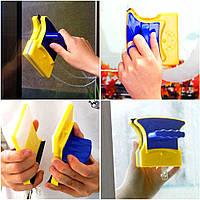 Магнитная щетка для мытья окон с двух сторон Glass Wiper Window Wizard, щетка для окон, мытье окон