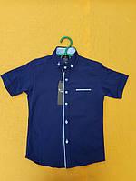 Рубашка подростковаяс коротким рукавомдля мальчика 12-16 лет, темно-синяя