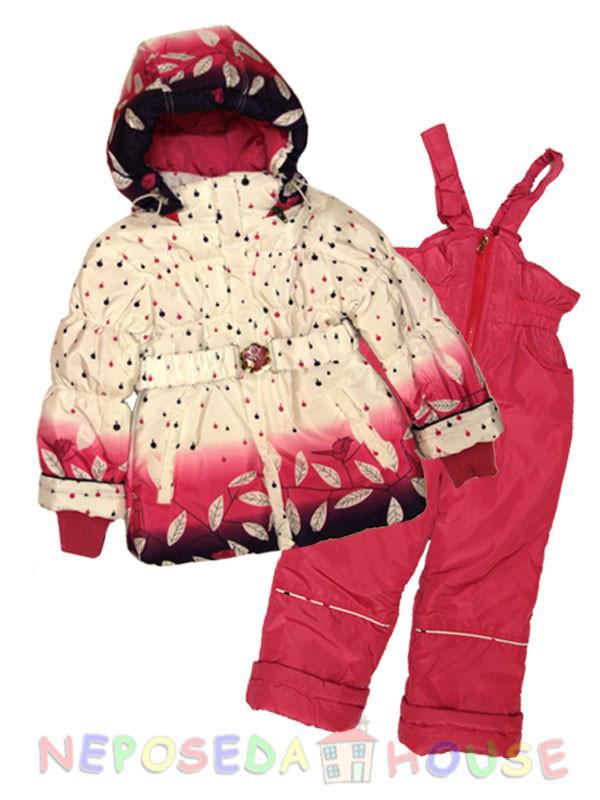 Гарний демісезонний костюм для дівчинки від 3 до 5 років малиновий