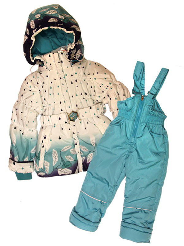 Детский комбинезон  весна-осень для девочки от 1,5 до 4 лет бирюзовый