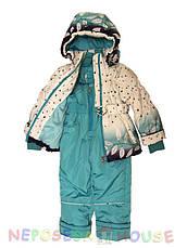 Детский комбинезон  весна-осень для девочки от 1,5 до 4 лет бирюзовый, фото 2