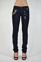 Джинсы женские AMN синие с цепью арт 2111