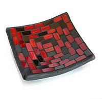 Подсвечник мозаичный новогодний (11х11х2,5 см)
