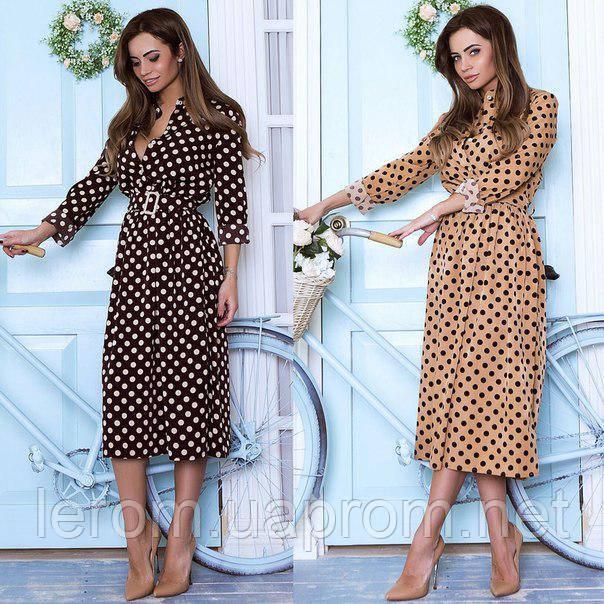 Очень модное платье в горох шоколад и беж