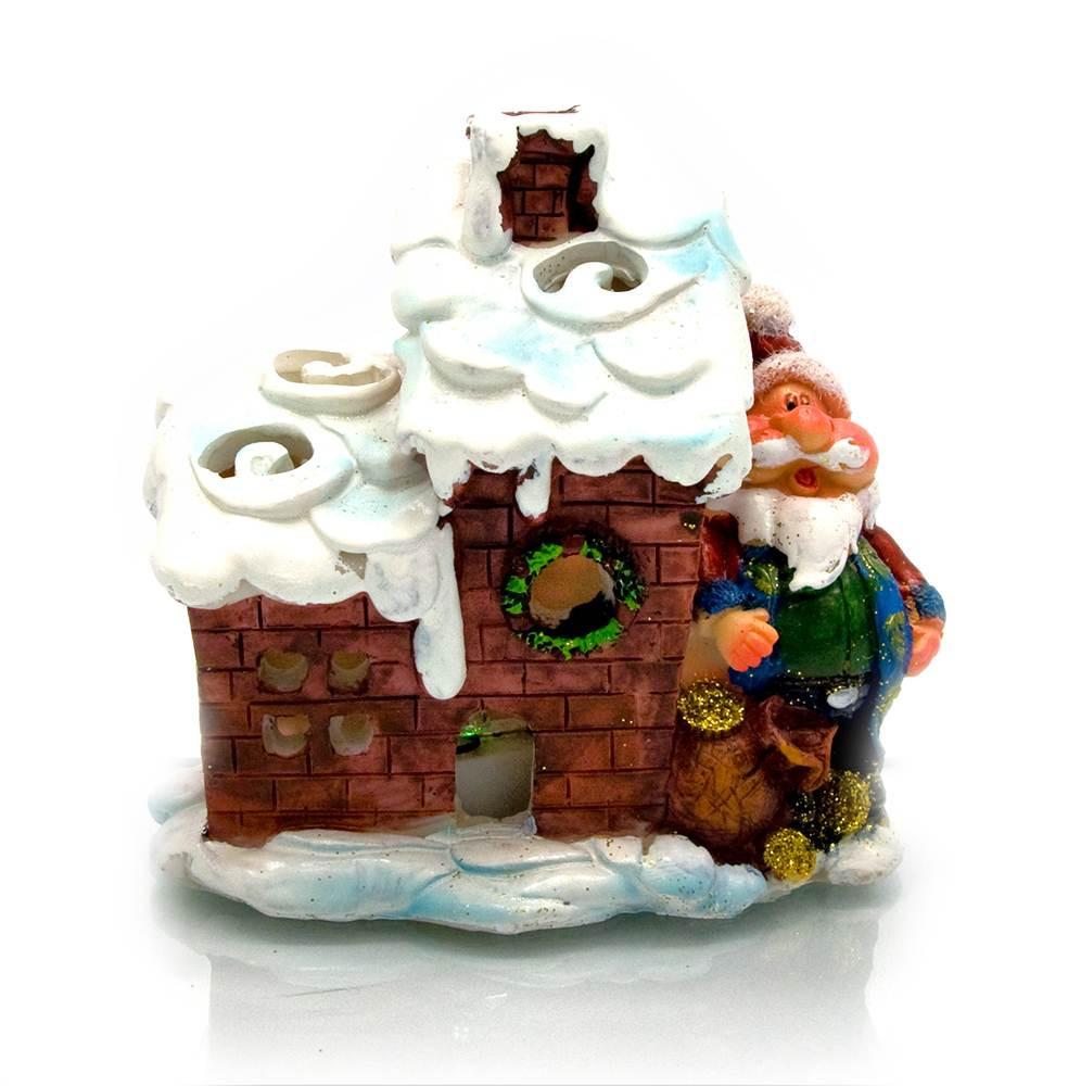 Дед мороз с домиком (с подсветкой) (9,5х10х7см)