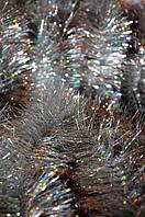 Мишура серебристая (серебро) голограмма, длина 1.5м, диаметр 25мм Харьков.
