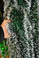 Мишура темно-зеленая (белый кончик), длина 1.5м, диаметр 25мм Харьков.