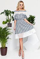 Кокетливое Летнее Платьице с Открытыми Плечами Черное с Белым Кружевом S-XL, фото 1