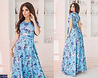 Летнее платье женское длинное с цветочным принтом из льна 42,44,46