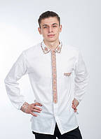 Вышиванка мужская с карманом нарядная, белая, ллянная