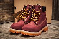 Ботинки женские Timberland 6 premium boot, бордовые (3195-2),  [  36  ]