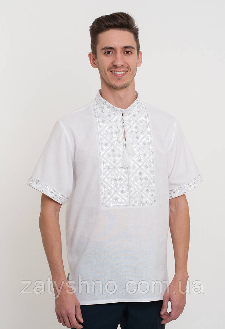 Ллянная мужская вышиванка белая, фото 1