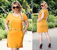 Платье с поясом, модель 815, Цвет  Горчичный, фото 1