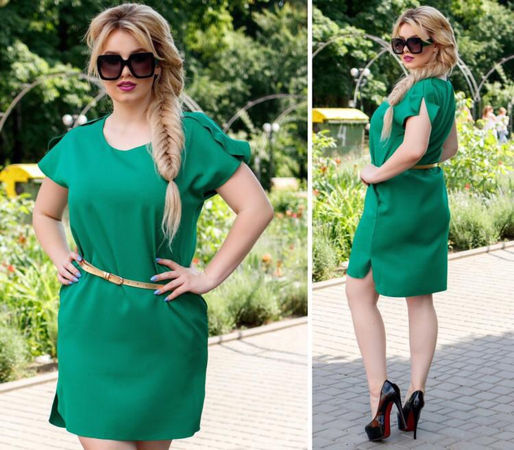 Платье с поясом, модель 815, Цвет  Зеленый