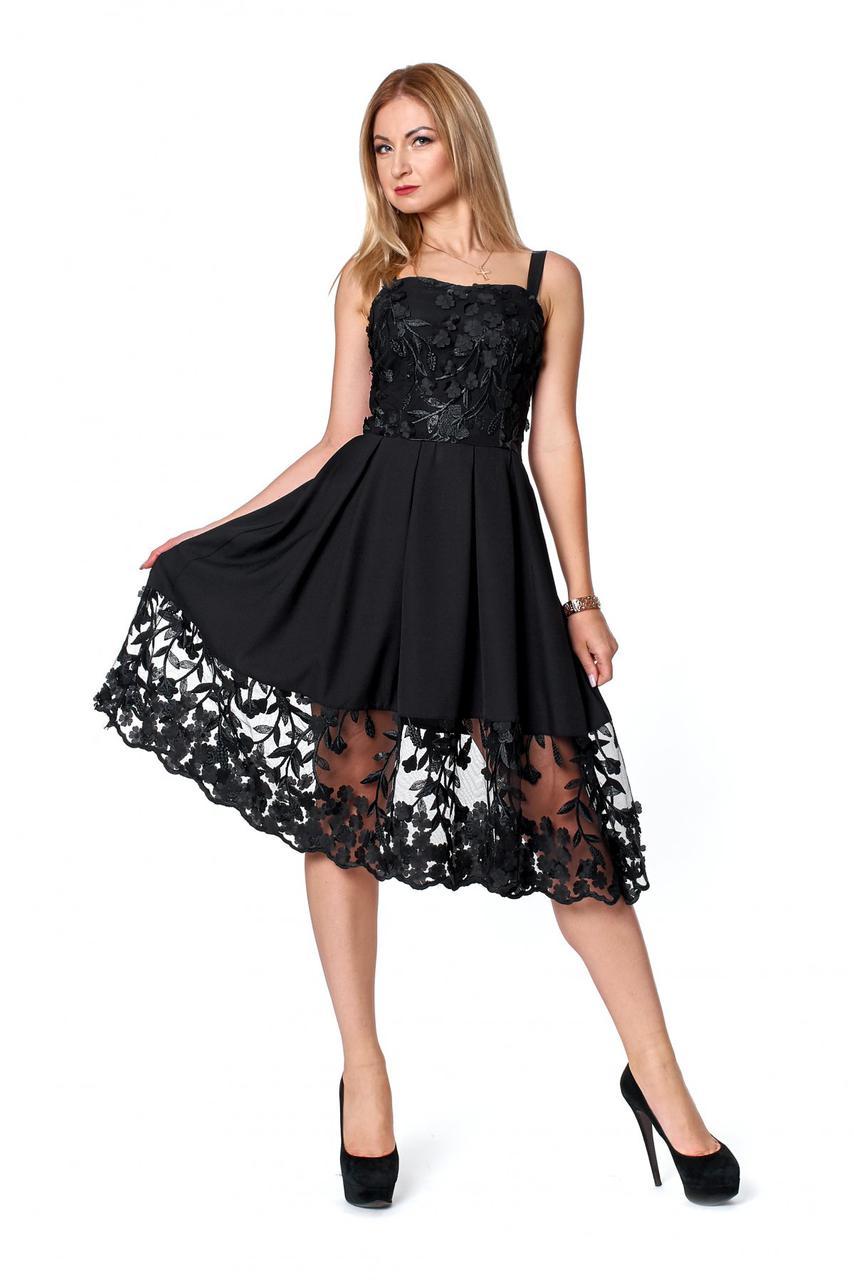 Женское коктейльное платье гипюр с открытой спинкой