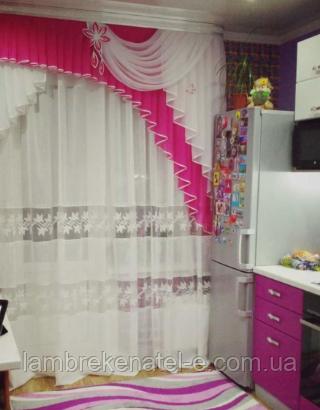 Ламбрекен на кухню розовый
