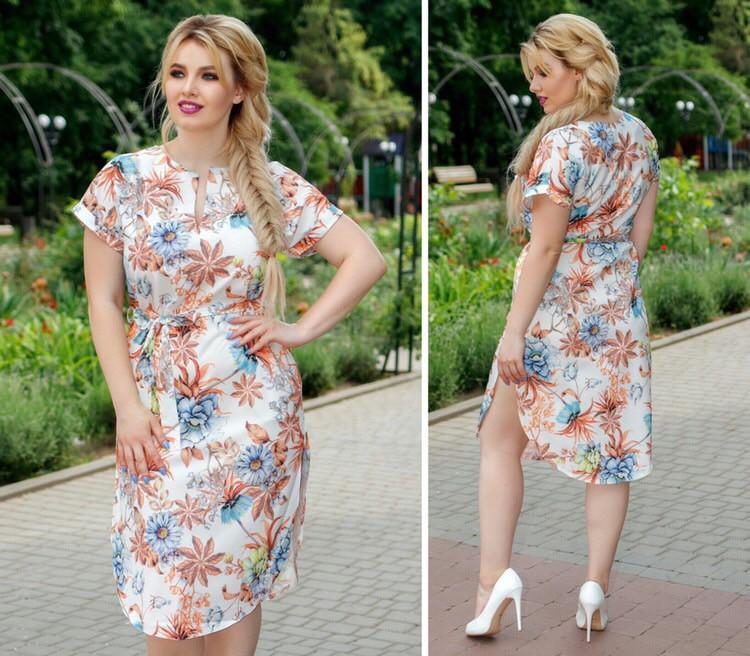 Платье с поясом и карманами, модель 816, цветочный принт на белом фоне