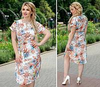 Платье с поясом и карманами, модель 816, цветочный принт на белом фоне, фото 1