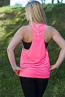 Модная женская майка борцовка с широким вырезом,  розовый цвет, JHK T-shirt , Испания, 100% хлопок, S, M, L