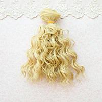 Волосы для кукол мокрые кудри в трессах, холодный пепельный блонд  - 15 см