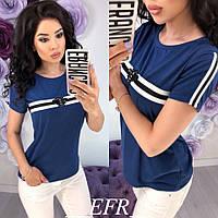 Модная женская футболка Gucci Гучи пчела с лампасами синяя S-M L-XL