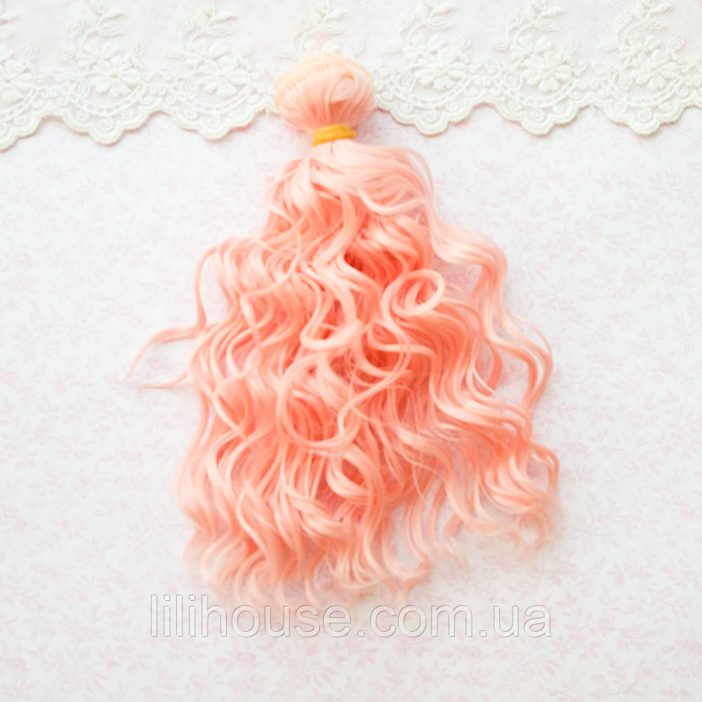 Волосы для кукол мокрые кудри в трессах, светлый коралл  - 15 см