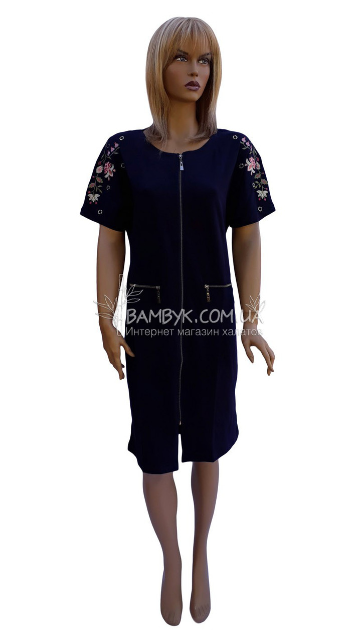 Літнє плаття-халат на блискавці з вишивкою Birlik № 2160