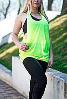 Модная женская майка борцовка с широким вырезом,  салатовая, JHK T-shirt , Испания, 100% хлопок, S, M, L