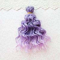 Волосы для кукол мокрые кудри в трессах, омбре фиолет с сиренью  - 15 см