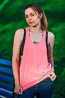 Модная женская майка борцовка с широким вырезом,  розовая, JHK T-shirt , Испания, 100% хлопок, S, M, L