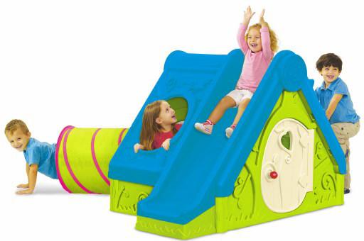 Детский игровой домик 3 в 1  Горка с тоннелем Funtivity