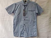 Рубашка детскаяклетка с коротким рукавомдля мальчика 6-11 лет, серая