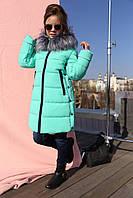 Зимний пуховик на девочку с мехом чернобурки Викки
