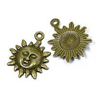 Кулон Солнце, Металл, Цвет: Бронза, Размер: 23x19x3мм, Отверстие 2мм, (УТ100008696)