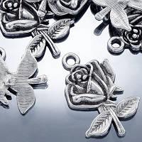 Кулон Роза, Металл, Цвет: Античное Серебро, Размер: 25.5х17.5х3мм, Отверстие 1.5мм, (УТ000000492)