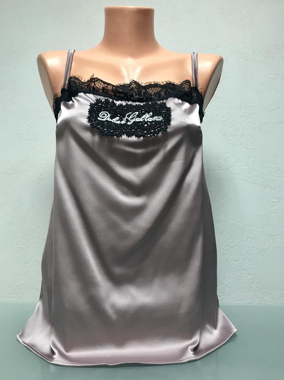 Шелковый топ в стиле Dolce&Gabbana розовый с кружевом